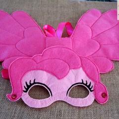 PINKIE PIE - Child' s Felt Mask & Wing set, Pretend Play for Children 2 -8,