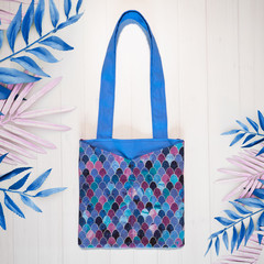 Blue Mermaid Scales Eco Friendly Sustainable Tote Bag