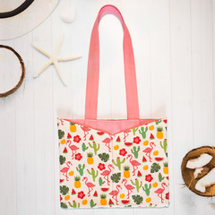 Flamingo Cactus Eco Friendly Sustainable Tote Bag