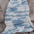 simple knitted summer scarf made from cotton yarn in mixed blue and white