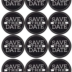 BLACK AND WHITE SAVE THE DATE 60MM ROUND STICKERS