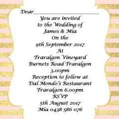 PINK AND GOLD STRIPE WEDDING INVITATIONS
