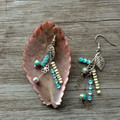 Blue Stone, Shell and Charm earrings