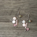 Pink Stone, Shell and Charm earrings