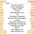 PINK AND GOLD STRIPE WEDDING INVITATION SAMPLE