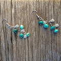 Silver rose and Turquoise Earrings