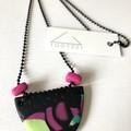 'Lets Go Disco' Neon Clay-Canvas Necklace (ii)