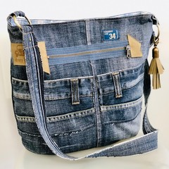 Messenger Bag, Up-cycled Denim Pouch, Unisex Jeans Cross Body Satchel