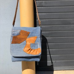 Denim Messenger Bag - Leather Patches,  Unique Up-cycled Jeans Cross Body Pouch