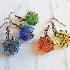 Round glass wire wrapped earrings , Antique Ethnic Boho Hippie Style earrings