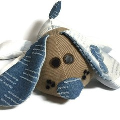 Dog Soft Toy, Stuffed Puppy Dog, Denim Puppy, Re-cycled Fabric  Up-cycled Jeans