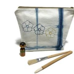 Indigo Shibori Hand-Dyed Zipper bag, Pencil Case, Make-up pouch, Utensil bag