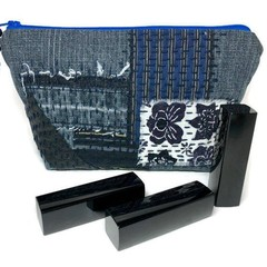 Zipper Make-up Bag, Japanese Fabric Patchwork Pouch, Boro inspired Purse