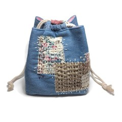 Drawstring Bag with Boro & Sashiko Hand Embroidery, Komebukuro Japanese Satchel