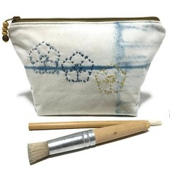 Indigo Shibori Hand-Dyed Zipper bag,  Pencil Case, Make-up pouch, Utensil bag