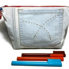 Denim Zipper bag, Up-cycled Jeans Pencil Case, Embroidered Make-up pouch, Unique