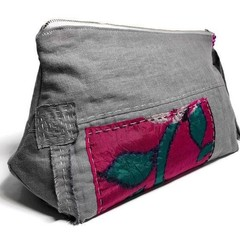 Grey Linen &  Silk Zipper Bag,  Patchwork Clutch, Boro inspired Pouch