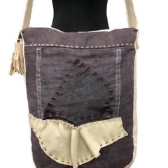 Cross Body Messenger Bag, Boro style Leather & Linen Shoulder Satchel, Pouch