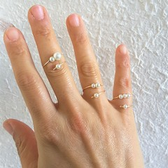 Dainty White Pearl open wire ring , Midi / Pinky ring Stacking / Stackable ring