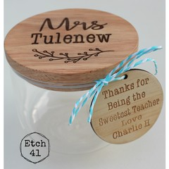 Personalised Etched  Jars - 2 Sizes