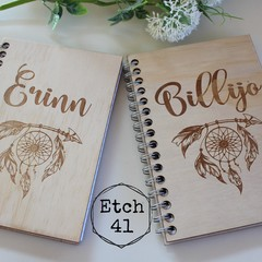Personalised Timber Etched Notebook
