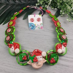 Elf on the Shelf - Christmas - Necklace Buttons Polymer - Jewellery - Earrings
