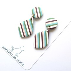 Stripealicious Drop Leaf Shape Statement earrings