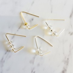 Simple clear glass bead wire earring , Geometric Minimal Modern Threader earring