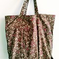 foldable eco bag + scrunchie set /  BROWN - small berries / gift for her / gift