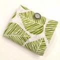 foldable eco bag + scrunchie set / Natural - LEAVES / gift for her / gift