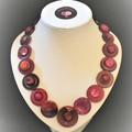 Red button necklace   - Burgundy Bliss