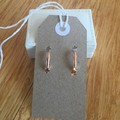 Unique hand painted earrings in a nickel free rose gold-coloured metal setting