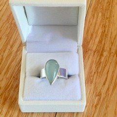 Handmade Sterling Silver Ring with a Green Tear Drop Aquamarine