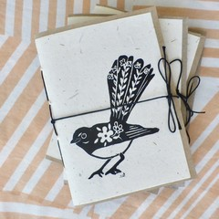 Mini handmade recycled paper notebook with blank pages / Hand printed cover