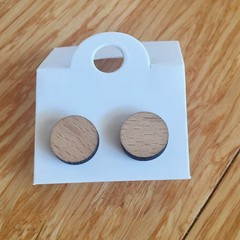 Hand made wooden stud style earrings