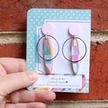 Pastel pink with silver alloy accent earrings