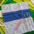 Crochet Hook Handy Wrap-Blue modern print