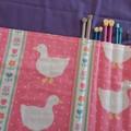 Knitting Needle Wrap-White Ducks on Pink