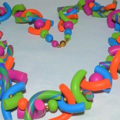 Colourful noodle necklace