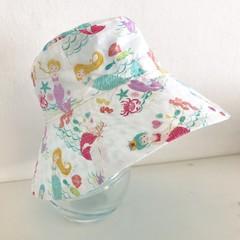 Girls wide brim summer hat in mermaid fabric