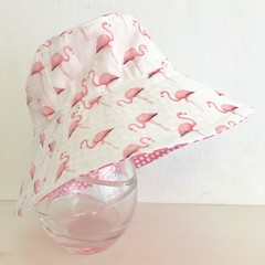 Girls wide brim summer hat in elegant flamingo fabric