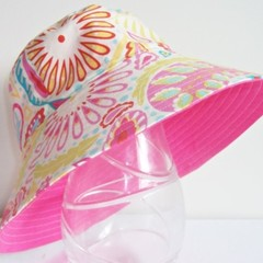 Girls wide brim summer hat pretty floral fabric