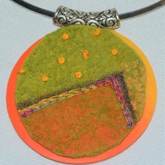 Round felt and polymer clay pendant