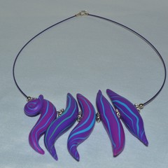 Blue and purple pod necklace