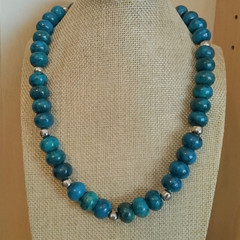 CHRYSOCOLLA LARGE RHONDELLE BEAD NECKLACE