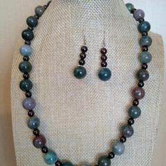 Agate and Garnet Necklace and Earrings