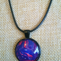 MARBLED ROUND PENDANT Blue/Purple Red & White Marbling Under a Glass Cabachon