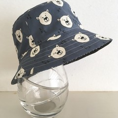 Boys summer hat in steel blue bear fabric