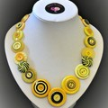 Yellow and black necklace  and earrings - Tigerland