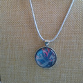 MARBLED ROUND PENDANT Blue, Gold & White Marbling Under a Glass Cabachon